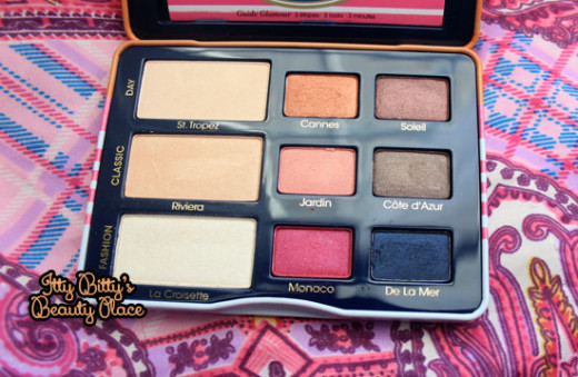 How the too faced a la mode palette looks like on the inside.