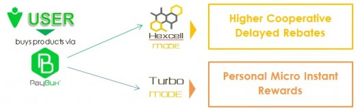 The two modes in Paybux - Hexcell and Turbo!