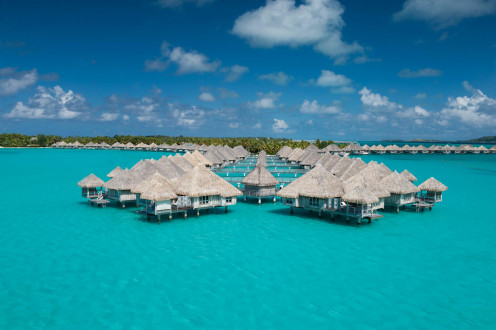 Bora Bora Island is located in the Pacific Ocean surrounded by a barrier reef and a lagoon of French Polynesia.