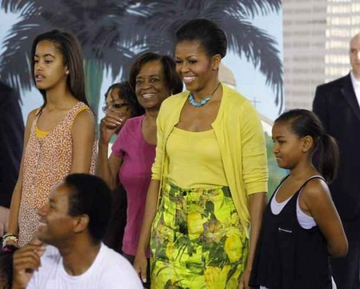 Malia and Sasha Obama's grandmother Marian Shields Robinson (pink top)