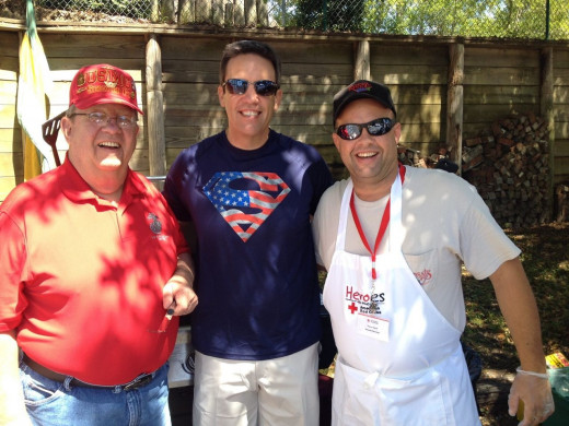 Steve West, Ed Piotrowski and his dad at Holes for Heroes campaign.