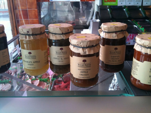 Selection of Welsh chutney and preserves for sale on a butcher's shop counter at Upper Killay, Swansea.