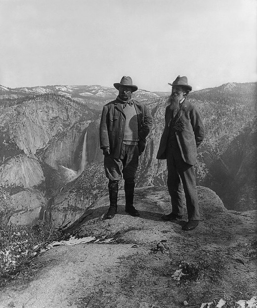 President Theodore Roosevelt and John Muir on Glacier Point in Yosemite National Park.