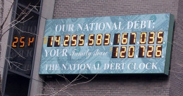 The National Debt now stands at 17 trillion (that's 17,000,000,000,000) dollars.