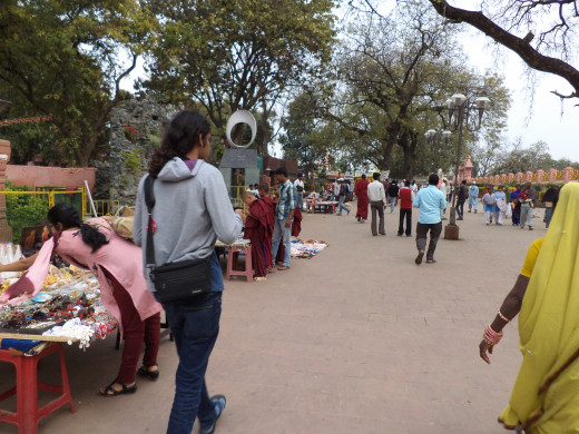 Souvenir Shops Outside Mahabodhi Temple And My Son Siddhartha With The Ponytail