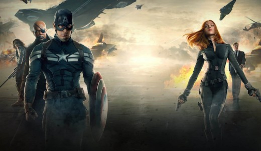 Cap stands tall ...and just what is Black Widow doing with her hair?