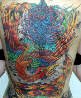 A very colorful large Phoenix Tattoo.