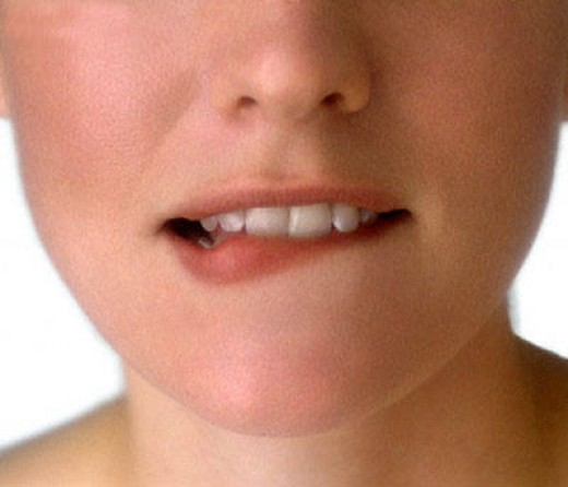 Lip Biting Is A Common Nervous Habit