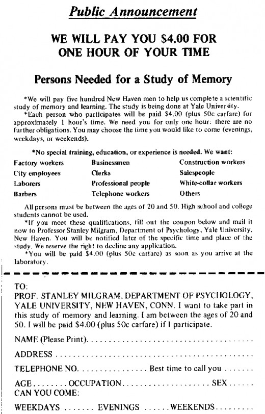 The advertisement sent out to attract volunteers for the experiment.