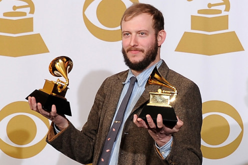 Bon Iver with his two Grammy's for Best New Artist and Best Alternative Album