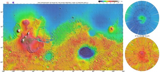 No, the blue parts aren't water, that's just low elevation. The Borealis Basin (light blue) is probably the largest impact crater in the solar system. The dark blue Hellas Basin in the south is another big impact crater.