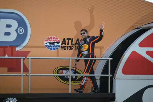 Stewart received a warm welcome from the Atlanta fans at Sunday night's race