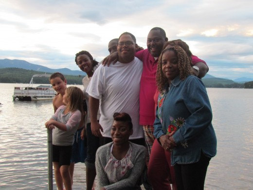 After a delicious meal of steak and lobster, given by the Madison Congregation of New Hampshire, photos were taken by the crystal clear lake.