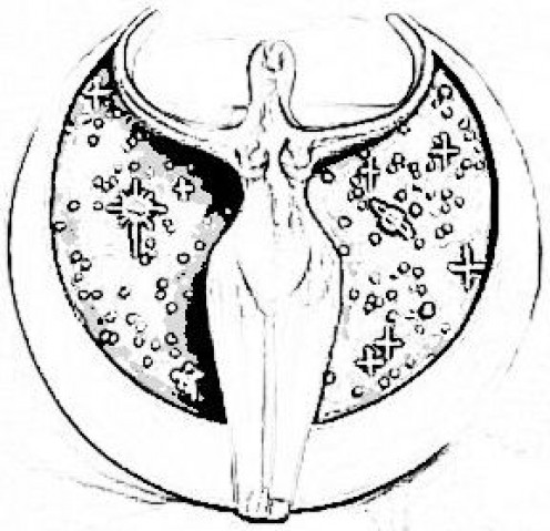 This is an image of a lunar, or moon, goddess. It is based on ancient carvings from prehistoric times.