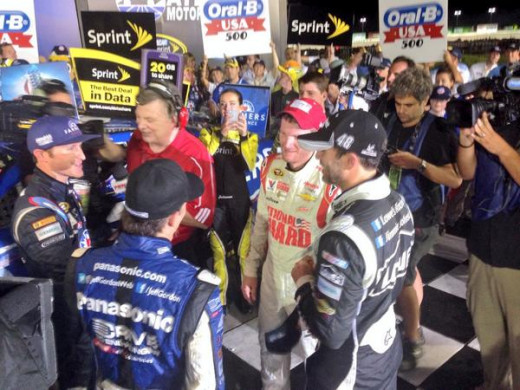 The four drivers celebrated Kahne's win at Atlanta together; does Hendrick dare break up this group?
