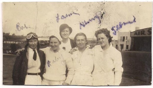 This photo fell out of the pages of a book that had belonged to Jessie. Before then, who knows the last time the picture had been seen. From left to right: Babe, Ruby, Lorena, Henrietta, and my grandmother.