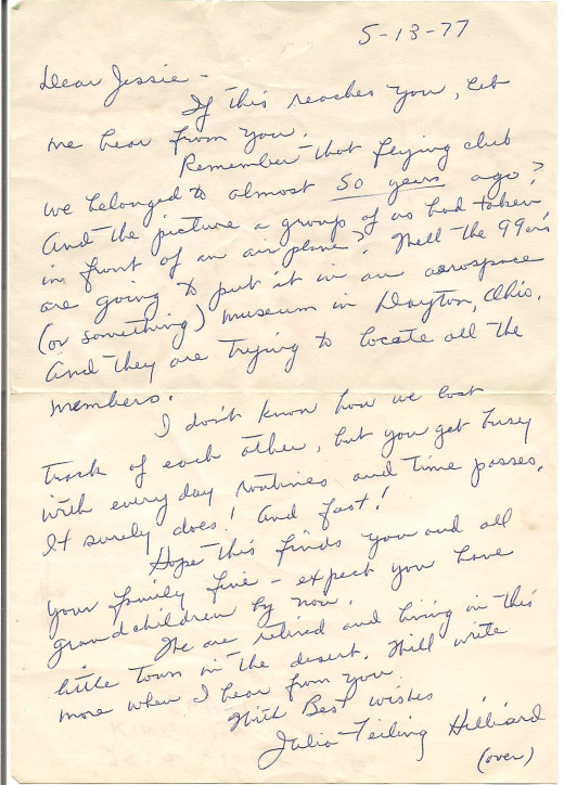 One of the many letters from Julia Feiling-Hilliard to my grandmother. This one mentions the Squadron of Death.