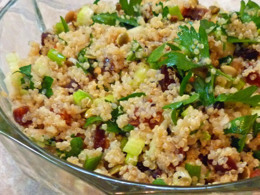 Quinoa salad with dried apricots and parsley