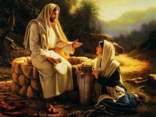 - Jesus and the Samaritan woman talking at the well of Jacob ( John 4:1-42 ). -
