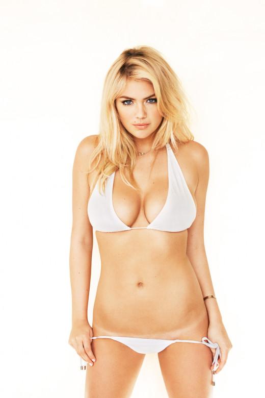 Kate Upton modeling a white bikini