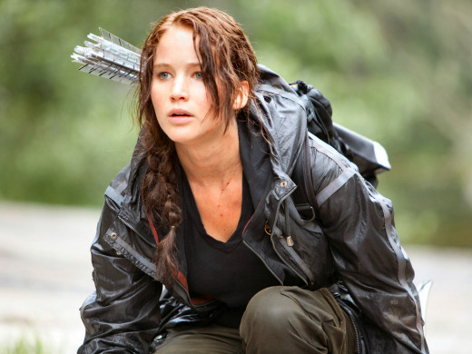 Jennifer Lawrence as Katniss Everdeen in The Hunger Games film adaptation of the bestselling series by Suzanne Collins