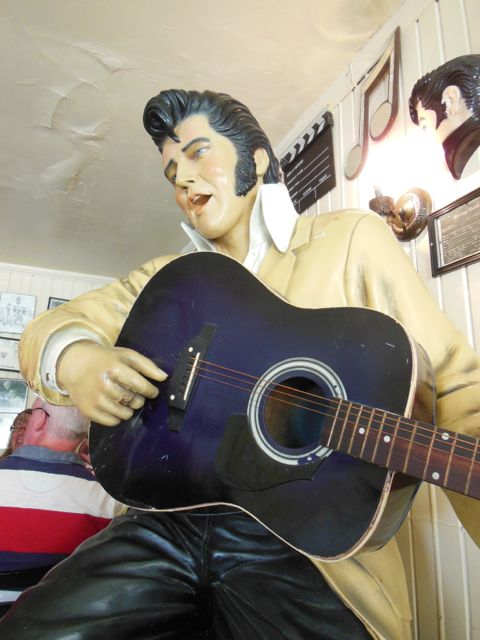 Elvis statue in the dining room