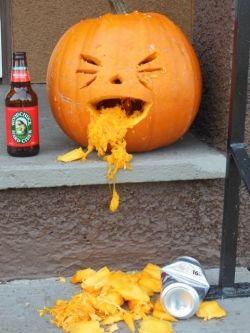 A drunken pumpkin, the morning after Halloween...