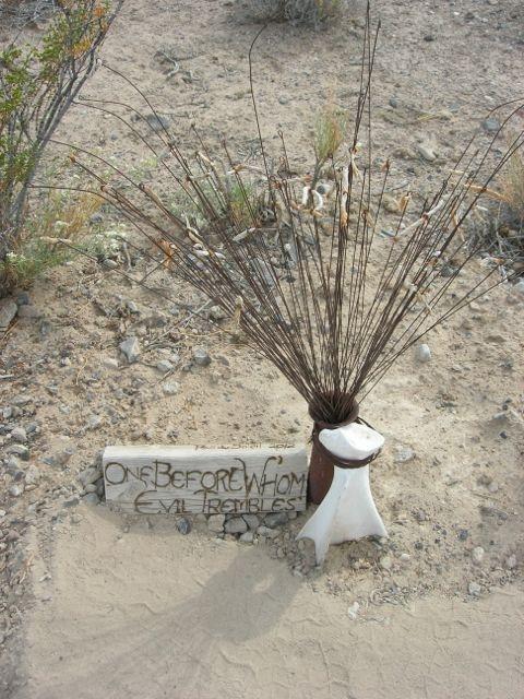 """Before Whom Evil Trembles"" - found metal, wood and bone.  Created by Rae du Soleil"
