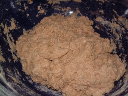 The beginning dough is lumpy but still pretty moist.