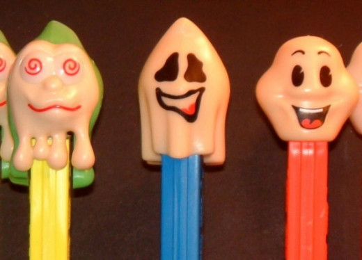 Here we have our Halloween Ghosts and Ghouls. From left to right is Slimy Sid, Naughty Neil and Happy Henry.  Originally made in regular plastic, these guys are now produced in glow-in-the-dark versions.