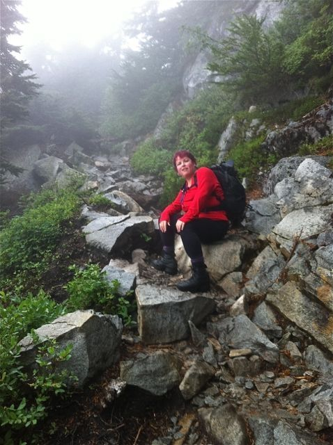 Rae climbing Mt Pilchuck, Oct 2011, photo by Kalla