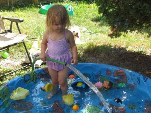 Rain water in the pool is much more cost effective!