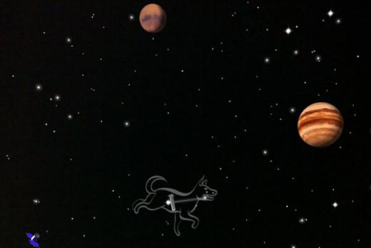 Mars Jupiter and Canis minor