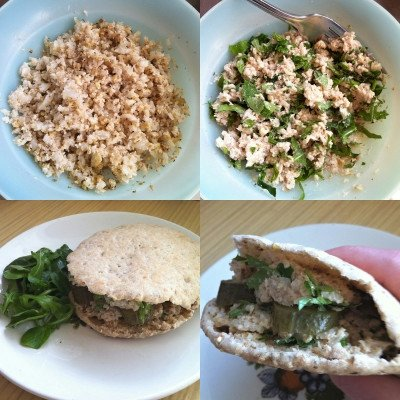 cauliflower and walnut pitta sandwich