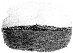 Jaffa on a find day, taken from a steamer lying in the roads. A boat is coming for passengers