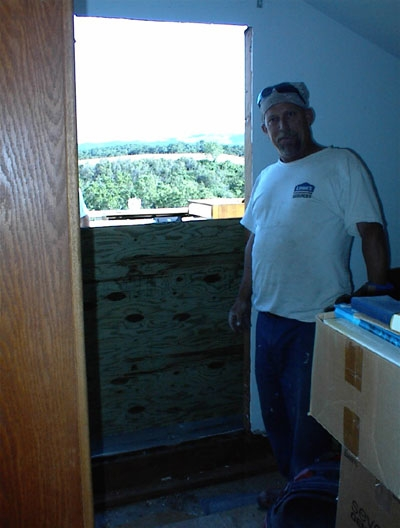 Larry at work -- well, actually stopping work to pose.