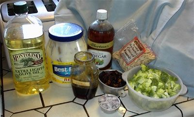 Assemble ingredients for broccoli salad before beginning preparations