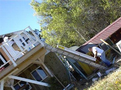 Door begins to move slowly up ladder.