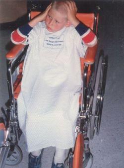Jason in wheelchair at emergency room
