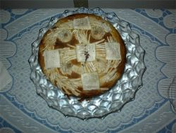 Every family had it's own way of making the Slava bread or  Slavski Kolac. My mother-in-law-made this one.