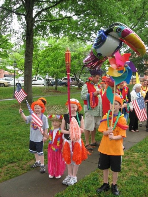 The Children Led The Tate Family Parade - Everyone carried their family flag with pride and dressed according to their family color