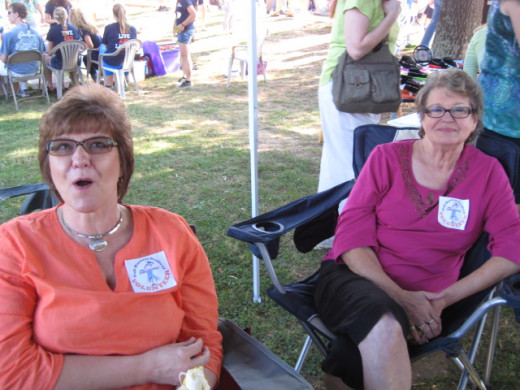 Debra and Frances hard at work at the Information Booth