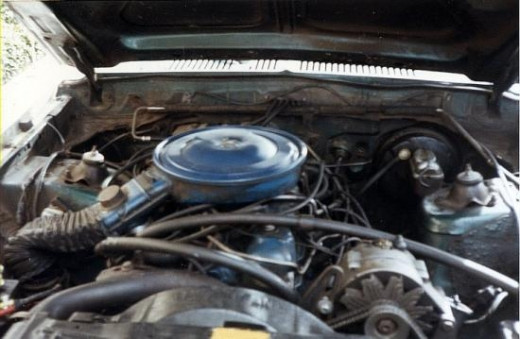 Here's a photo of the engine compartment.  It was very simple, except for the emission vacuum hoses, which were part of what caused problems with the car.  This car had to pass the same emissions that modern cars did, so it was really hard to get it