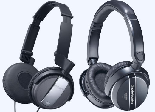 The Sony and Audio-Technica noise-cancelling headphones.