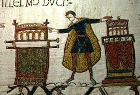 Harold, the oath and the beginning of his problems. This episode would come back to haunt him until his dying day - this is the Bayeux Tapestry version of the story. Propaganda or fact?