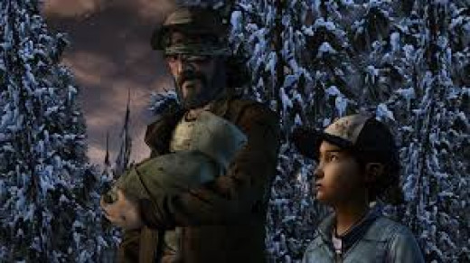 Season 1 & 2 lead characters Clementine and Kenny carrying Alvin Jr, the baby of their fallen comrades.