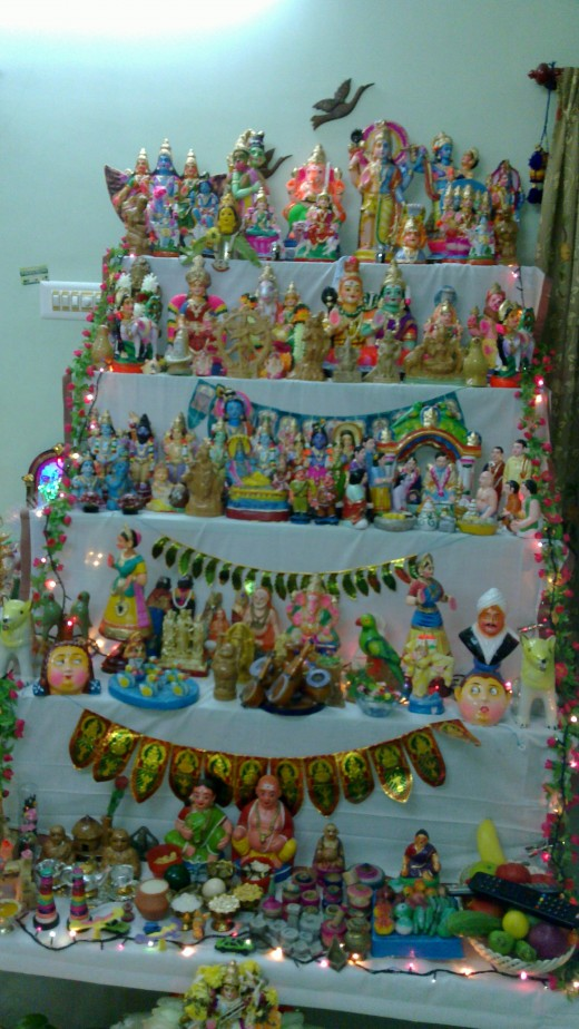 Navarathri is the Indian festival. in that time they arrange the steps decorated by dolls