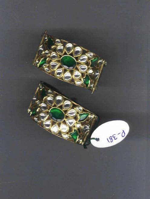 Kundan Meena Jadau Bangles with Emeralds and Diamonds