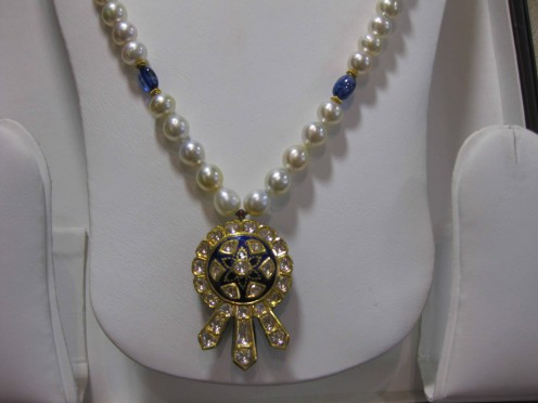 Kundan Meena Jadau Pendant with Pearls