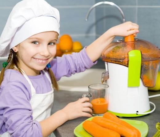 Girl making juice